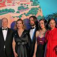 "Le prince Albert II de Monaco, Carole Bouquet, son fils Dimitri Rassam avec sa fiancée Charlotte Casiraghi et Tatiana Santo Domingo - 65ème édition du Bal de la Rose donné au profit de la Fondation Princesse Grace sur le thème de la Riviera, une idée de K. Lagerfeld, à la Salle des Etoiles du Sporting Monte-Carlo à Monaco, le 30 mars 2019. © Jean-Charles Vinaj / Pool Monaco / Bestimage  People attend the Rose Ball 2019 to benefit the Princess Grace Foundation on March 30th, 2019 at the Sporting Monte-Carlo – Salle des Etoiles in Monaco. The theme of this year event will be the one chosen by the legendary designer K. Lagerfeld, it is ""The Riviera"".30/03/2019 - Monaco"