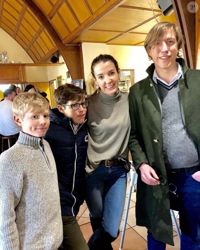 Tessy de Luxembourg (Tessy Antony) et le prince Louis de Luxembourg réunis, avec leurs fils Noah et Gabriel, lors d'un dimanche en famille le 10 mars 2019 au Luxembourg. Photo Instagram Tessy de Luxembourg.