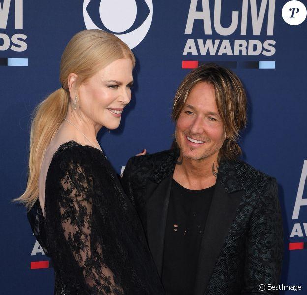 Nicole Kidman et son mari Keith Urban lors de la 54ème cérémonie des Academy of Country Music Awards au MGM Grand Hotel & Casino à Las Vegas, Nevada, Etats-Unis, le 7 avril 2019.
