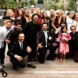 Laeticia et Johnny Hallyday avec leurs filles Jade et Joy au mariage de Jean-Claude Sindres à Los Angeles en mai 2016.