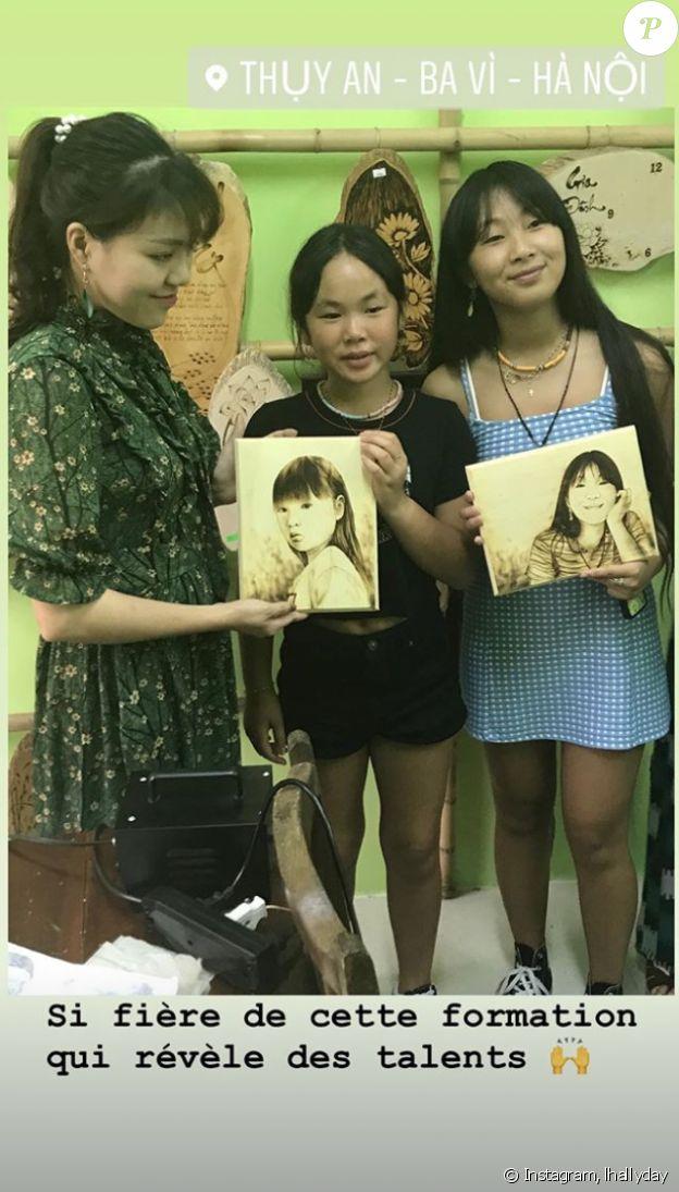 Laeticia Hallyday, Jade et Joy au Vietnam, le 20 avril 2019.