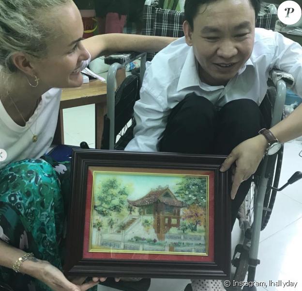 Laeticia Hallyday au Vietnam, le 20 avril 2019.