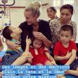 Laeticia Hallyday en visite dans une clinique orthopédique d'Hanoï, au Vietnam - avril 2019.