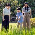 Le prince Hisahito du Japon, fils de Fumihito d'Akishino, avec ses soeurs les princesses Mako et Kako pour ses 12 ans à Tokyo le 6 septembre 2018.