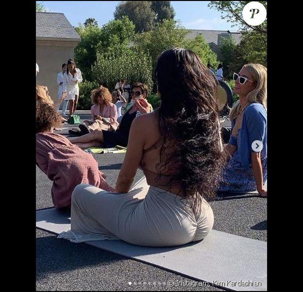 Kim Kardashian et Paris Hilton - Baby-shower de Kim Kardashian, sur les thèmes des produits au cannabidiol et de la méditation. Los Angeles, le 27 avril 2019.