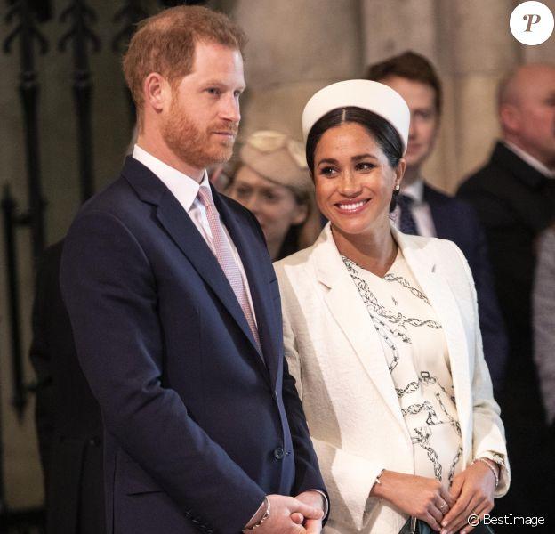 Le prince Harry et Meghan Markle, duchesse de Sussex, lors de la messe de la Journée du Commonwealth à l'abbaye de Westminster à Londres, le 11 mars 2019.