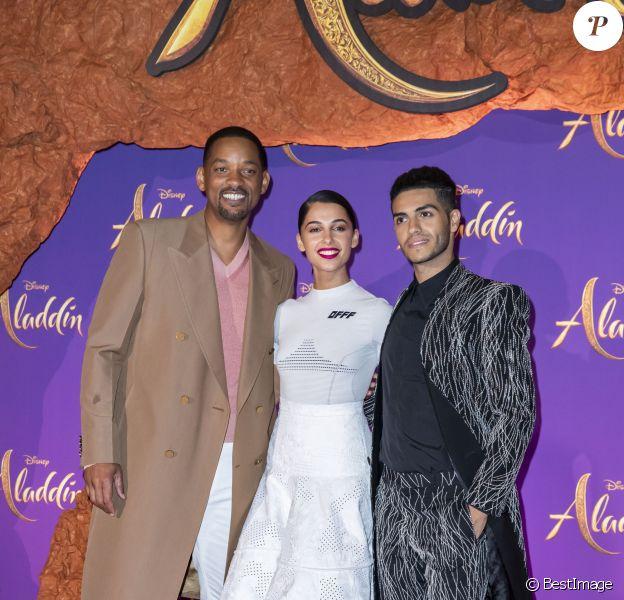 """Will Smith, Naomi Scott et Mena Massoud - Avant-première Parisienne du film """"Aladdin"""" au Grand Rex à Paris le 8 mai 2019. © Olivier Borde/Bestimage"""
