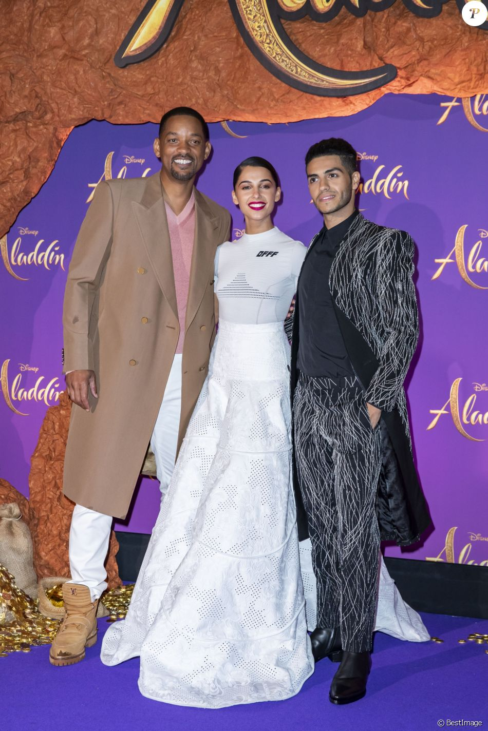 "Will Smith, Naomi Scott et Mena Massoud - Avant-première Parisienne du film ""Aladdin"" au Grand Rex à Paris le 8 mai 2019. © Olivier Borde/Bestimage"