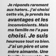 Iris Mittenaere, très remontée, répond aux attaques d'internautes sur sa famille, le 12 mai 2019 sur Instagram.