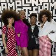 Marie Zannou, Didistone Olomidé et Hanna Lhoumeau (à droite) assistent à la soirée de lancement de la collection LGP de Longchamp au grand magasin Galeries Lafayette Champs-Élysées. Paris, le 14 mai 2019.