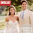 """Ana Boyer et Fernando Verdasco en couverture du magazine """"Hola!"""". Le couple s'est marié sur l'île Moustique."""
