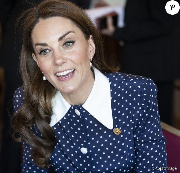 Catherine (Kate) Middleton, duchesse de Cambridge, se rend au Bletchley Park pour assister à l'inauguration d'une exposition dans bâtiment récemment rénové du Teleprinter Building, à l'occasion de son 75e anniversaire du débarquement. Bletchley, 14 mai 2019.