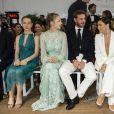 La princesse Alexandra de Hanovre, Beatrice Borromeo, Pierre Casiraghi et Eva Longoria lors du défilé de présentation de la collection Croisière 2020 d'Alberta Ferretti le 18 mai 2019 au Yacht Club de Monaco.