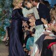 Pierre Casiraghi félicite Alberta Ferretti lors du défilé de présentation de la collection Croisière 2020 d'Alberta Ferretti le 18 mai 2019 au Yacht Club de Monaco.