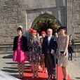 L'archiduchesse Beatrice d'Autriche-Este, le comte Riprand von und zu Arco-Zinneberg et leurs filles Olympia et Giorgiana - Mariage de la comtesse Anna Theresa d'Arco-Zinnenberg et Colin McKenzie en la basilique de Niederalteich, Allemagne, le 29 septembre 2018.