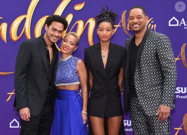 Trevor, Jada Pinkett, Willow et Will Smith lors de l'avant-première du film Aladdin à Los Angeles le 21 mai 2019