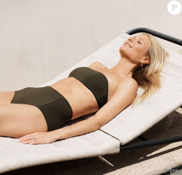 Gwyneth Paltrow pose pour la nouvelle collection de G. Label Swim, la ligne de maillots de Goop.