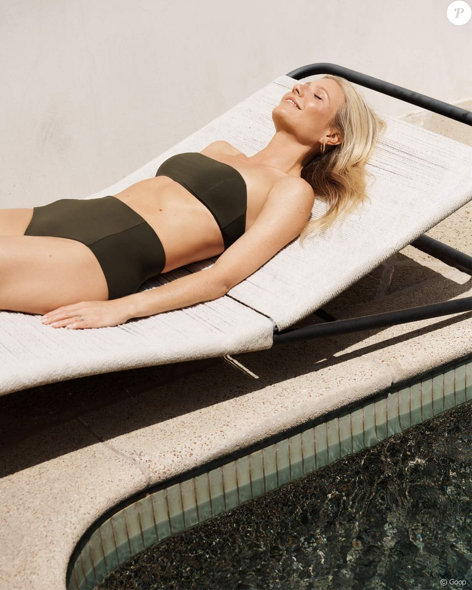 Gwyneth Paltrow pose pour la nouvelle collection de G. Label Swim, la ligne de maillots de Goop.