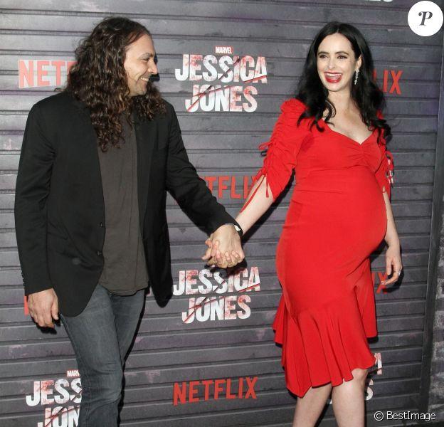 """Krysten Ritter enceinte et son compagnon Adam Granduciel à l'avant-première de la saison 3 de """"Jessica Jones"""" à The Arclight dans le quartier de Hollywood à Los Angeles, le 28 mai 2019."""