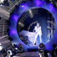 Mylène Farmer sur la scène de Bercy, à Paris, pour la première date de la tournée Timeless 2013, le 7 septembre 2013.