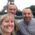 """Julie, Pierre-Emmanuel et Sébastien - Les candidats de la saison 12 de """"L'amour est dans le pré"""", diffusée en 2017, se retrouvent pour le tournage d'un numéro de """"Que sont-ils devenus ?"""", tourné à Paris en juin 2019."""