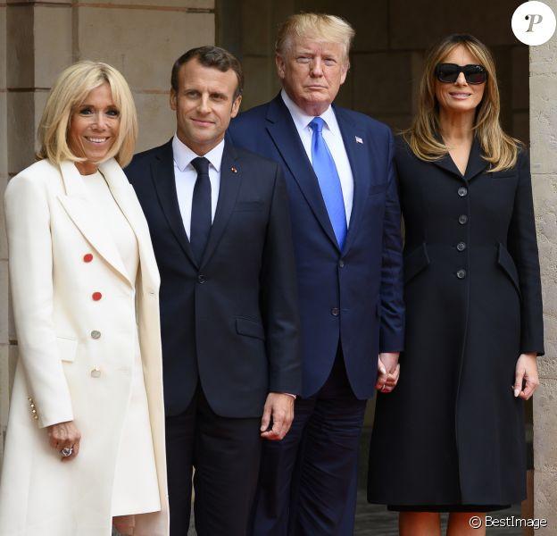 Melania Trump, la première dame Brigitte Macron - 75ème anniversaire du débarquement - Entretien entre le président Donald Trump et le président Emmanuel Macron à la préfecture de Caen le 6 juin 2019. © Eliot Blondet / pool / Bestimage