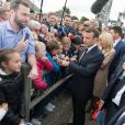 Le président Emmanuel Macron, Brigitte Macron lors de l'hommage aux 177 commandos Kieffer lors du 75ème anniversaire du débarquement à Colleville-Montgomery le 6 juin 2019. © Jacques Witt / Pool / Bestimage