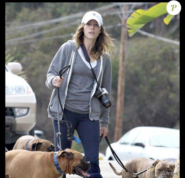 La belle Jessica Biel, lors d'une promenade avec ses chiens, à Malibu, en juin 2009 !