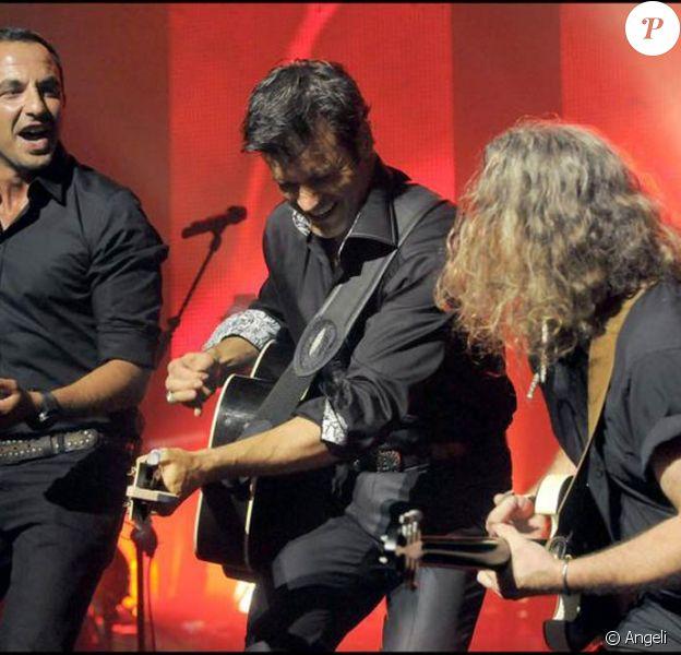 Nikos Aliagas et Roch Voisine au Théâtre Mogador, lors de la tournée Americana, juin 2009, Paris