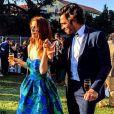 Elodie Frégé (en Paule Ka) et son compagnon Gianmarco Tavani au mariage de François-Xavier Demaison et Anaïs Tihay le 7 juin 2019 au château de Valmy dans les Pyrénées-Orientales. Photo Instagram.