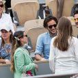 Vianney salué par Amir Haddad et sa femme Lital dans les tribunes lors de la finale messieurs des internationaux de France de tennis de Roland Garros 2019 à Paris le 9 juin 2019. © Jacovides-Moreau/Bestimage