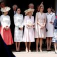 """La comtesse Sophie de Wessex, la reine Letizia d'Espagne, la duchesse Camilla de Cornouailles, la reine Maxima des Pays-Bas et Kate Middleton, duchesse Catherine de Cambridge le 17 juin 2019 au château de Windsor lors des cérémonies de l'ordre de la Jarretière, qui compte le roi Felipe VI d'Espagne et le roi Willem-Alexander des Pays-Bas comme nouveaux chevaliers """"étrangers"""" (surnuméraires)."""