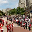 """Image, le 17 juin 2019 au château de Windsor, des cérémonies de l'ordre de la Jarretière, qui compte le roi Felipe VI d'Espagne et le roi Willem-Alexander des Pays-Bas comme nouveaux chevaliers """"étrangers"""" (surnuméraires)."""