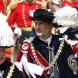 """Le roi Felipe VI d'Espagne le 17 juin 2019 au château de Windsor lors des cérémonies de l'ordre de la Jarretière, qui compte le roi Felipe VI d'Espagne et le roi Willem-Alexander des Pays-Bas comme nouveaux chevaliers """"étrangers"""" (surnuméraires)."""