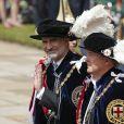"""Le roi Felipe VI d'Espagne et le roi Willem-Alexander des Pays-Bas le 17 juin 2019 au château de Windsor lors des cérémonies de l'ordre de la Jarretière, qui compte le roi Felipe VI d'Espagne et le roi Willem-Alexander des Pays-Bas comme nouveaux chevaliers """"étrangers"""" (surnuméraires)."""