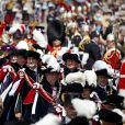 """La princesse Anne, le prince Andrew, le prince Edward, le roi Felipe VI d'Espagne, le roi Willem-Alexander des Pays-Bas et le prince William le 17 juin 2019 au château de Windsor lors des cérémonies de l'ordre de la Jarretière, qui compte le roi Felipe VI d'Espagne et le roi Willem-Alexander des Pays-Bas comme nouveaux chevaliers """"étrangers"""" (surnuméraires)."""