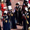 """La princesse Anne, le prince Andrew, le prince Edward, la roi Felipe VI d'Espagne et le roi Willem-Alexander des Pays-Bas le 17 juin 2019 au château de Windsor lors des cérémonies de l'ordre de la Jarretière, qui compte le roi Felipe VI d'Espagne et le roi Willem-Alexander des Pays-Bas comme nouveaux chevaliers """"étrangers"""" (surnuméraires)."""