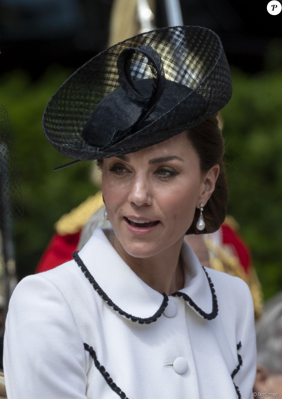 Catherine (Kate) Middleton, duchesse de Cambridge, lors de la cérémonie annuelle de l'Ordre de la Jarretière (Garter Service) au château de Windsor. 17/06/2019