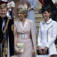 Le roi Willem-Alexander et la reine Maxima des Pays-Bas, Catherine (Kate) Middleton, duchesse de Cambridge, lors de la cérémonie annuelle de l'Ordre de la Jarretière (Garter Service) au château de Windsor - Windsor