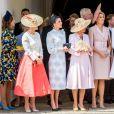 La reine Letizia d'Espagne, Sophie Rhys-Jones, comtesse de Wessex, Camilla Parker Bowles, duchesse de Cornouailles, la reine Maxima des Pays-Bas, Catherine (Kate) Middleton, duchesse de Cambridge, lors de la cérémonie annuelle de l'Ordre de la Jarretière (Garter Service) au château de Windsor. 17/06/2019 - Windsor