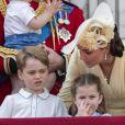 Catherine (Kate) Middleton, duchesse de Cambridge, le prince George de Cambridge la princesse Charlotte de Cambridge - La famille royale au balcon du palais de Buckingham lors de la parade Trooping the Colour 2019, célébrant le 93ème anniversaire de la reine Elisabeth II, Londres, le 8 juin 2019.