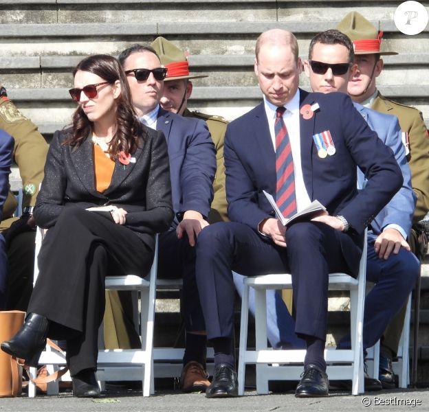 Jacinda Ardern, Première ministre néo-zélandais , le prince William, duc de Cambridge au service commémoratif de la journée ANZAC à Auckland, le 24 avril 2019.