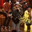 """Billy Ray Cyrus, Lil Nas sur scène lors de la 7ème cérémonie des """"BET Awards"""" au Staples Center à Los Angeles, le 23 juin 2019."""