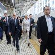 Le président de la République française Emmanuel Macron et sa femme la Première Dame Brigitte Macron arrivent à la gare de Tokyo pour prendre le Shinkansen, le train à grande vitesse japonais, à destination de Kyoto, Japon, le 27 juin 2019. © Eliot Blondet/Pool/Bestimage
