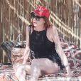 Lindsay Lohan dans son club de Mykonos le 16 juin 2018.