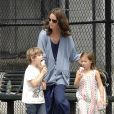 Christy Turlington, sa fille Grace et un ami à elle à New York le 8 juin 2009