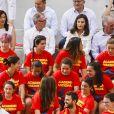 La reine Letizia d'Espagne a assisté le 4 juillet 2019 à une séance d'entraînement de l'équipe féminine nationale de rugby à 7 sur le stade de l'Université Complutense de Madrid.
