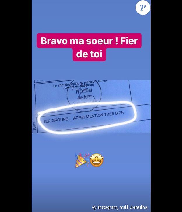 Malik Bentalha félicite sa soeur sur Instagram.