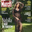 Nabilla en couverture de Paris Match, juillet 2019. Elle a révélé au magazine qu'elle était enceinte d'un petit garçon.