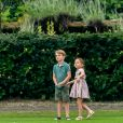 Le prince George de Cambridge et sa soeur la princesse Charlotte de Cambridge lors d'un match de polo de bienfaisance King Power Royal Charity Polo Day à Wokinghan, comté de Berkshire, Royaume Uni, le 10 juillet 2019.